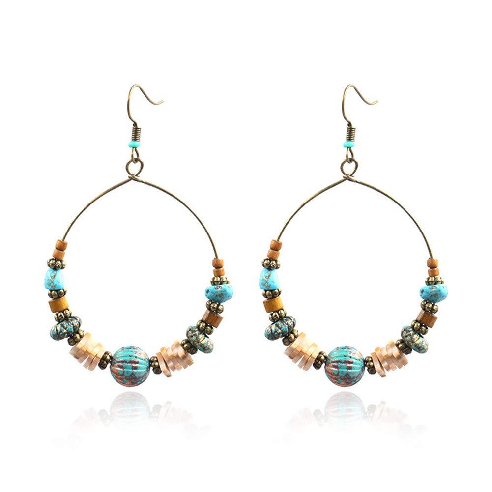 Amazon com: Wood Beaded Hoop Dangle Earrings Hook Bohemian Colorful