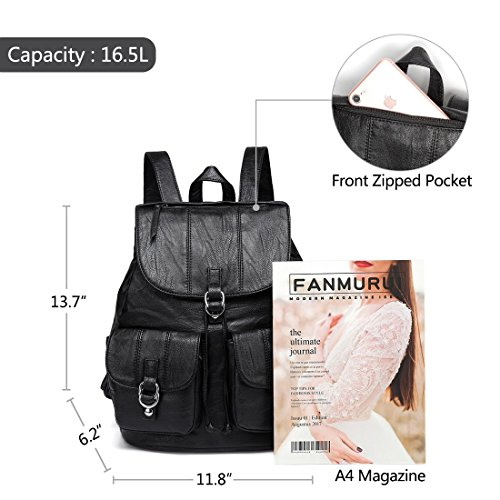Fashion nbsp;drawstring College Women Pockets Faux Two Flap Buckle vaschy Leather black Backpack Large For With Front Purse wIx1CzRqB
