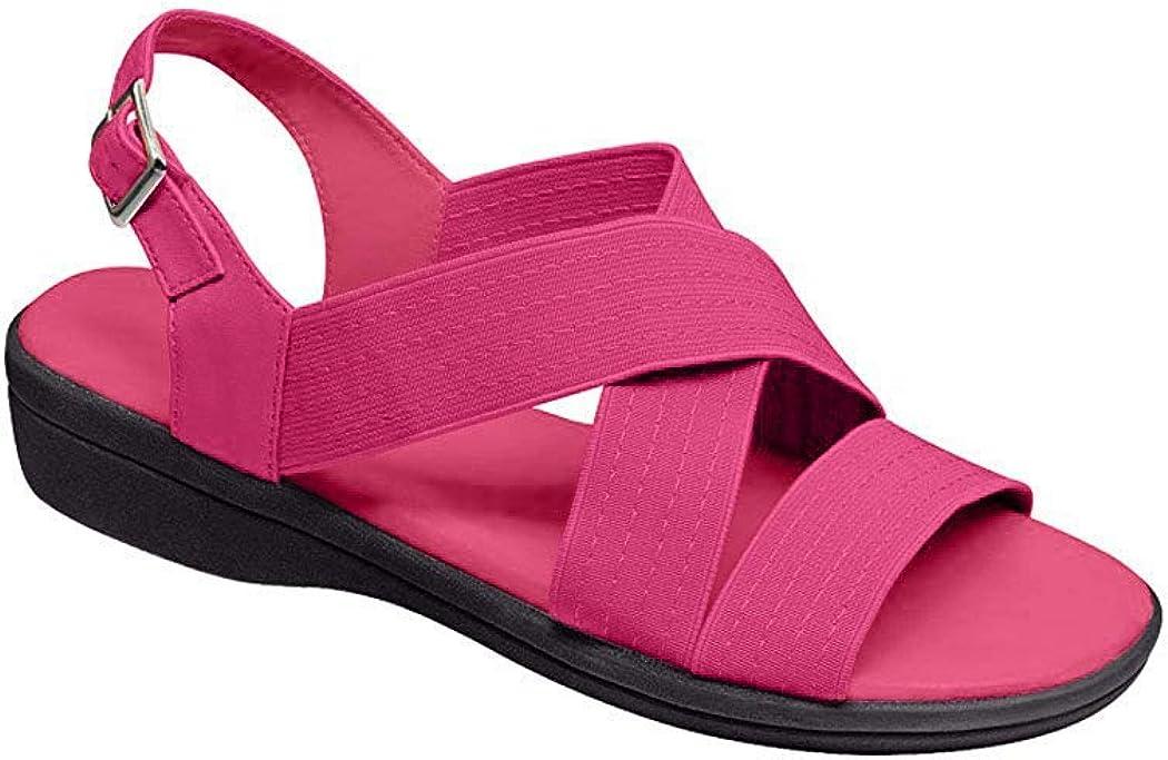 Vintage Sandals | Wedges, Espadrilles – 30s, 40s, 50s, 60s, 70s AmeriMark Womens Adult Cross Strap Sandal Synthetic Sandals $21.98 AT vintagedancer.com