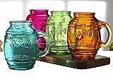 Circleware Family Recipe Glass Barrel Mugs, Set of