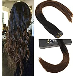Sunny 16 inch Ombre Tape In Extensions Color Black to Dark Brown #4 Skin Weft Tape In Hair Extensions Human Hair 20pc 50g/pack