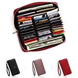 APHISON RFID Card Holder Leather Women Men Credit Card wallets Passport Cell phone Purse/Gift Box 098 (RED)