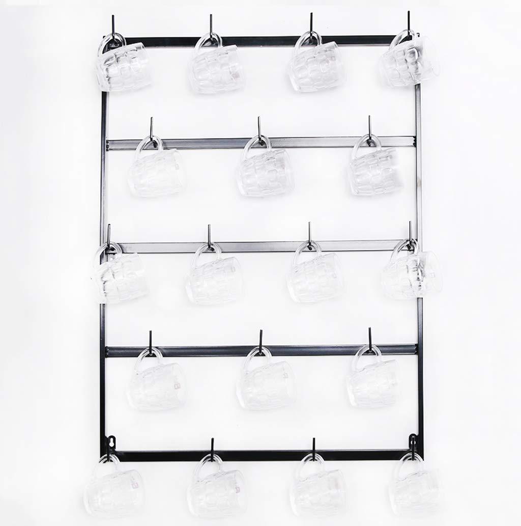 5 Niveles Negro Al rev/és estantes de Vidrio para Vino Estante de la Taza de Cerveza Estante de exhibici/ón de la Taza de caf/é Soporte para Tazas de Metal para Montaje en Pared de 3 Niveles