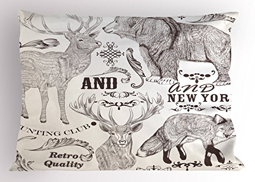 Lunarable Cabin Pillow Sham, Collection of Sketchy Wild Animals with Retro Style Floral Ornaments Fox Bear Deer, Decorative Standard Size Printed Pillowcase, 26 X 20 Inches, Brown Beige