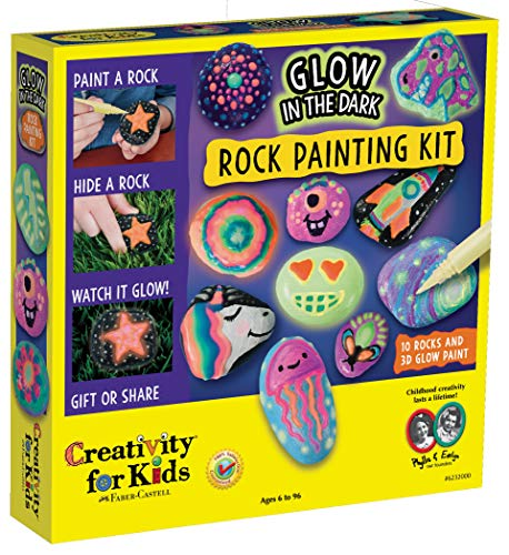 Creativity for Kids Glow in The Dark Rock Painting Kit - Paint 10 Rocks with Water Resistant Glow Paint ()