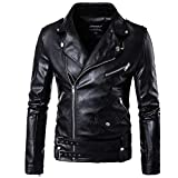HHGKED Mens Long Sleeve Premium Stand Collar Zip up Locomotive Faux Leather Jacket