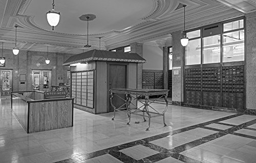 24 x 36 B&W Giclee Print of Mailboxes at the Texarkana U.S. Post Office and Federal Building 2013 Highsmith 06a