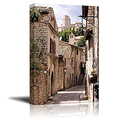Beautiful Landscape Scenery Medieval Street in The Italian Hill Town of Assisi - Canvas Art Wall Art - 16