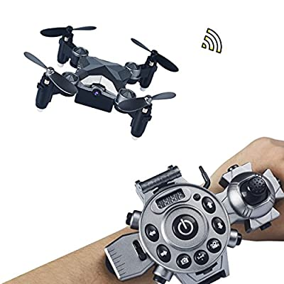 Joso RC Drone ,Protable Mini Quadcopter Watch Style Remote Control Fold Drone with 4 Axis FPV Camera 0.3MP Aerial Photography/Altitude Hold/ Auto Return and Real-time transmission by Joso