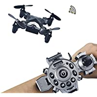 Joso RC Drone ,Protable Mini Quadcopter Watch Style Remote Control Fold Drone with 4 Axis FPV Camera 0.3MP Aerial Photography/Altitude Hold/ Auto Return and Real-time transmission