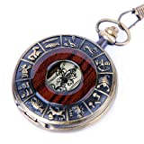 Skeleton Pocket Watch Chain Mechanical Hand Wind Vintage Zodiac Design Full Hunter Value Quality - PW15