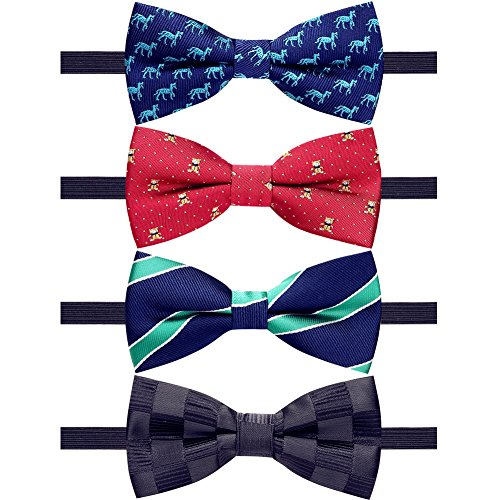 AUSKY 4 Packs Adjustable Pre-tied Bow Tie for baby boys Toddler Child Kids in Different style color (bow tie for Kids C)