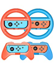 Grip Kit Compatible with Nintendo Switch Joy-Con Grip Controller Racing Switch Steering Wheel - 4 Pack, Comfort Handle for Kids Family Fun Special for Mario Kart 8 Deluxe (Red&Blue)