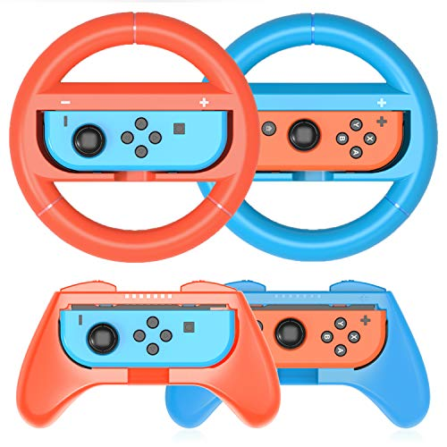 HEYSTOP Grip Kit Compatible with Nintendo Switch & 2021 OLED Model Joy-Con Grip Controller Racing Switch Steering Wheel…