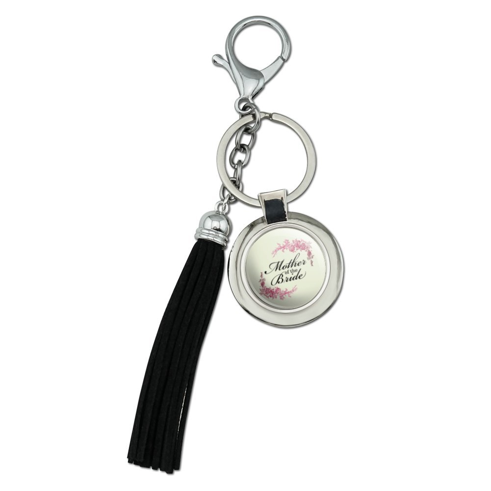Wedding Floral Mother of the Bride Chrome Plated Metal Round Leather Tassel Keychain