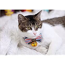 Besplore Pet Bow Tie,Detachable and Stripe Shape of Bow Tie,Kitty Collars,Pet Neckties,Middle