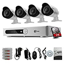 XVIM 8CH AHD 720P CCTV DVR with 4PCS HD 1.0 Megapixel (1280x720) Surveillance Security Camera System -100ft Night Vision -IP66 Weatherproof,Smartphone Easy Remote Access 1TB HDD included