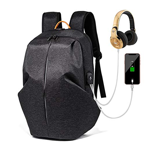 G&L Laptop Backpack, Extra Large Computer Rucksack with USB Charging Port and Headphone Hole, Water Resistant Big Business Travel Backpack for Mens and Women Bag Fit 15.6 Inch Laptops Notebook,Black ()