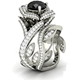 Women Flower 925 Silver Jewelry Black Sapphire Wedding 2pc Ring Size 6-10#by pimchanok shop (6)
