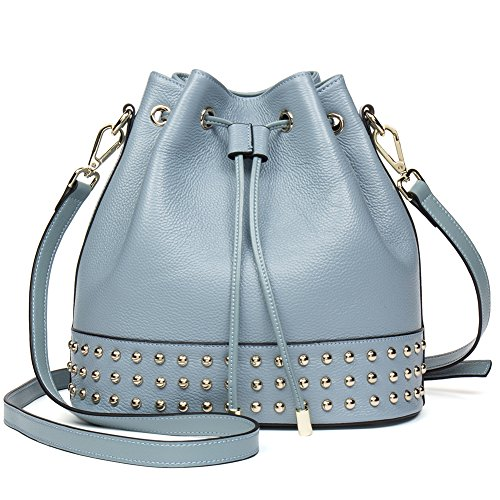 NAWO Women Bucket Handbag Genuine Leather Shoulder Hobo Purses Designer Large Bags Blue