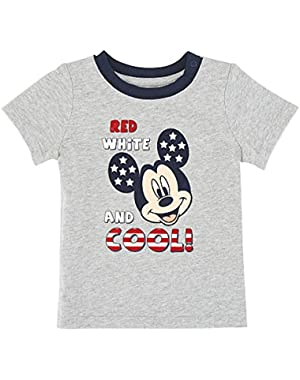 Baby Boys Grey Mickey Mouse Red White and COOL! T-Shirt Dress Up Tee