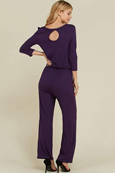 af48b803568 Amazon.com  Annabelle Women s Solid Knit 3 4 Sleeve Back Keyhole Full  Length Pocket Jumpsuits S-3XL  Clothing