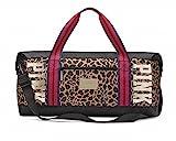 Victoria's Secret PINK duffel bag gold bling Tote Bag Travel Leopard Weekender