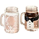 Lillian Rose I Pint Bride and Groom Drink Glass Covers, Clear