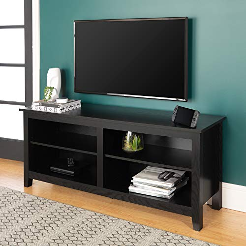 WE Furniture Minimal Farmhouse Wood Universal Stand for TV's up to 64″ Flat Screen Living Room Storage Shelves Entertainment Center, 58 Inch, Black