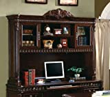 Cheap Tucker Computer Hutch with Detailed Carvings Brown