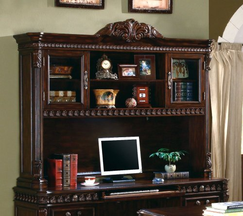 Set Armoire Mdf (Tucker Computer Hutch with Detailed Carvings Brown)