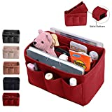 Purse Organizer, Bag Organizer With Sewn Bottom Insert New Design, Medium, Large (Medium, Red)