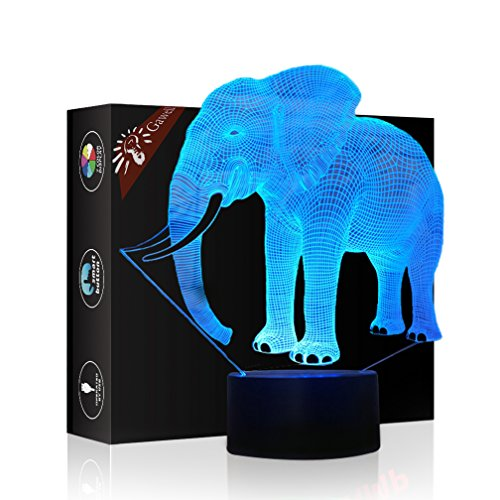Elephant 3D Illusion Birthday Gift Lamp, Gawell 7 Color Changing Touch Switch Table Desk Decoration Lamps Mother's Day Present with Acrylic Flat & ABS Base & USB Cable Toy for (Elephant Base)