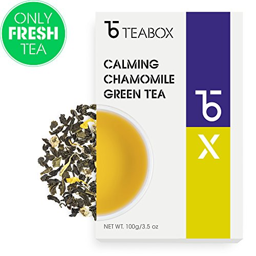 Teabox Chamomile Spring Loose Leaf Green Tea 3.5 Oz. (50 Cups)   100% Natural Soothing and Calming Tea, Stress Relieving and Restorative with Marigold   Delivered Garden Fresh Direct from Source