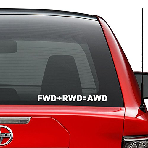 FWD Rwd AWD Engine Wheels Japanese JDM Vinyl Decal Sticker Car Truck Vehicle Bumper Window Wall Decor Helmet Motorcycle and More - (Size 9 inch / 23 cm Wide) / (Color Gloss Black) ()