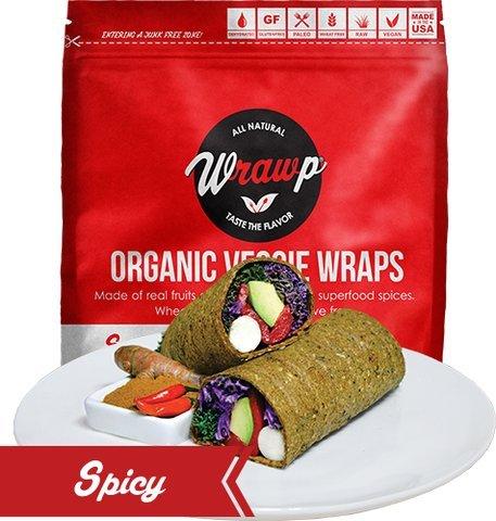 Raw Organic Spicy Jalapeno & Turmeric Veggie Wraps | Wheat-Free, Gluten Free, Paleo Wraps, Non-GMO, Vegan Friendly Made in the USA