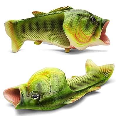 Okay Multiple Colour Creative Fish Slipper Man Handmade Fish Shoes Women Fish Slippers Unisex Beach Slippers Green Size: 2.5-3 M US Big Kid