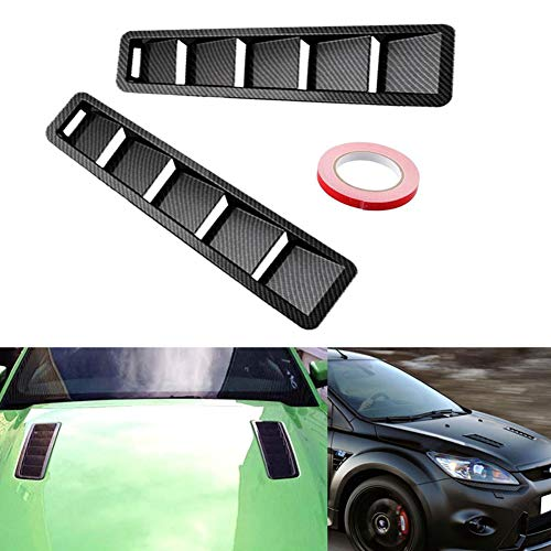 WYYINLI 2 Pack Car Hood Vent Scoop Kit Universal ABS Cold Air Flow Intake Louvers Cooling Intakes Auto Hoods Vents Bonnet Cover Car Decorative for Car SUV Truck (Carbon Fiber)