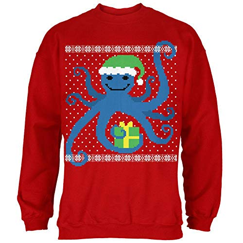 Ugly Christmas Sweater Octopus Red Adult Sweatshirt - Medium]()