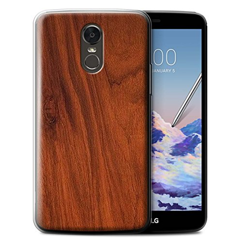 (STUFF4 Gel TPU Phone Case/Cover for LG Stylus 3/Stylo 3/K10 Pro/Mahogany Design/Wood Grain Effect/Pattern Collection)