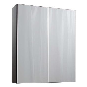 cassellie idon fixation murale meuble de salle de bain moderne 2 portes bois dense