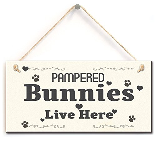 Stylish Hanging Sign- Pampered Bunnies Live Here, Funny Rabbit Sign Plaque (5