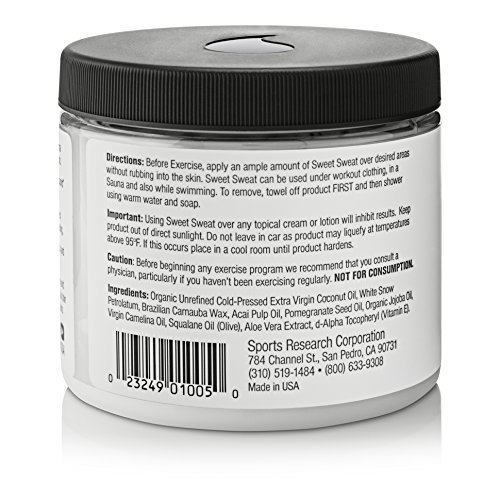 Large Product Image of Sweet Sweat Coconut 'XL' Jar 13.5oz | Helps increase circulation, sweating and motivation during exercise | Made with Extra Virgin Organic Coconut Oil and other Natural Oils