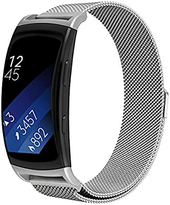 Compatibe Gear Fit2 Pro/ Fit2 Band,OenFoto Metal Milanese Loop Stainless Steel Replacement Accessories Strap with Magnet Lock for Samsung Gear Fit 2 ...