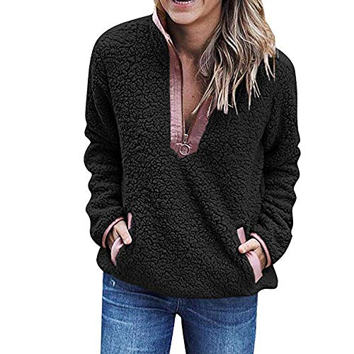 (Ulanda Sherpa Pullover Womens Stand Collar Zip Up Solid Color Sherpa Pullover Fuzzy Sweatshirt Tops)