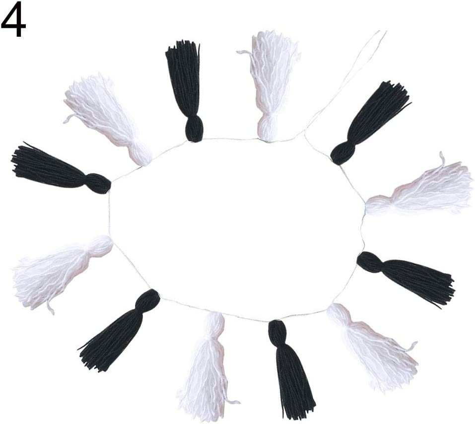 LeSharp Wool Garland Pompom Plush String Wall Hanging,Hand-Woven and Dyed Tassel Tapestry Wall Hanging Handwoven,Cotton Tassel Garland Colored Tassels Banner Decorative Wall Hangings 1#