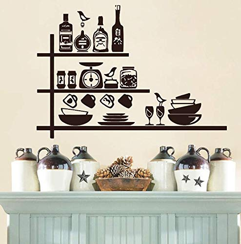Wall Stickers Crockery Spices Shelves Creative Wall Sticker for Kitchen Waterproof Vinyl Removable Home Decor Kitchen Wall Decals Decoration ()