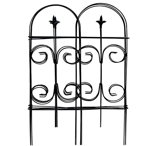 Amagabeli Decorative Garden Fence 32in x 12ft Fencing Rustproof Black Iron with Fleur De Lis Decoration Folding Wire Patio Fencing Border Edge Sections Edging Flower Bed Barrier Decor Patio (Garden Fence Trellis)