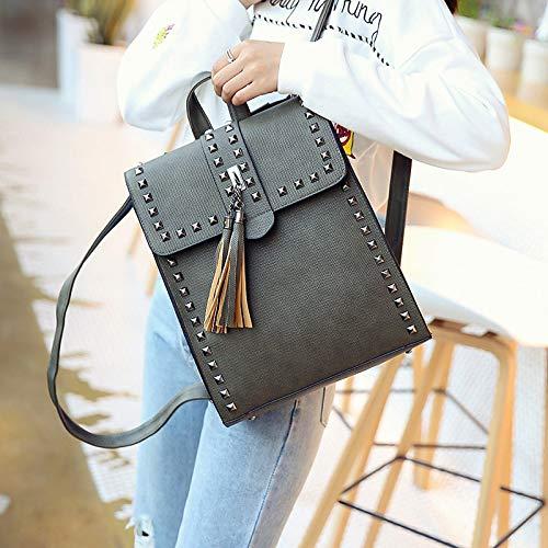 Retro Shoulder Rivets Bag Women Ladies Purse Leather Bag Rucksack Tassel Green PU Backpack ZYgwq6P