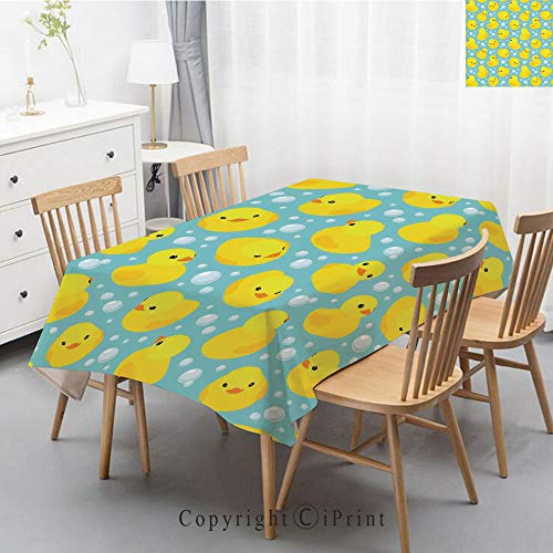 Plaid Decorative Linen Tablecloth With Tassel Oilproof Thick Rectangular Wedding Dining Table Cover Tea Table Cloth,55x87 Inch,Nursery,Cute Happy Rubber Duck and Bubbles Cartoon Pattern Childhood Kids